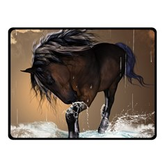 Beautiful Horse With Water Splash Double Sided Fleece Blanket (Small)