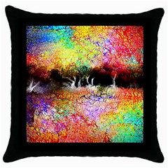 Colorful Tree Landscape Throw Pillow Cases (Black)