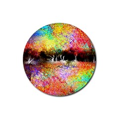 Colorful Tree Landscape Rubber Round Coaster (4 Pack)
