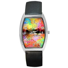 Colorful Tree Landscape Barrel Metal Watches