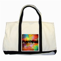 Colorful Tree Landscape Two Tone Tote Bag
