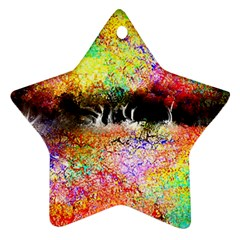 Colorful Tree Landscape Star Ornament (two Sides)