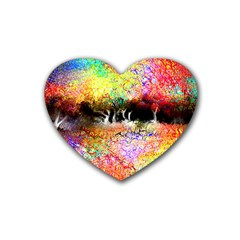 Colorful Tree Landscape Heart Coaster (4 Pack)