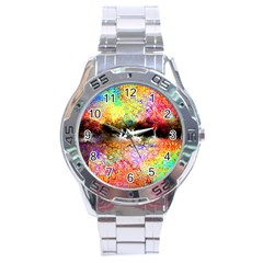 Colorful Tree Landscape Stainless Steel Men s Watch
