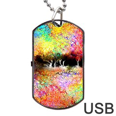 Colorful Tree Landscape Dog Tag Usb Flash (one Side)