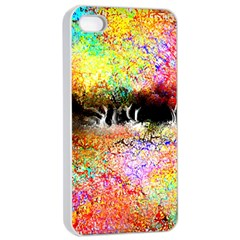 Colorful Tree Landscape Apple iPhone 4/4s Seamless Case (White)