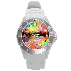 Colorful Tree Landscape Round Plastic Sport Watch (L)