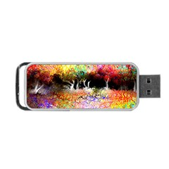 Colorful Tree Landscape Portable Usb Flash (two Sides)
