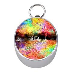 Colorful Tree Landscape Mini Silver Compasses