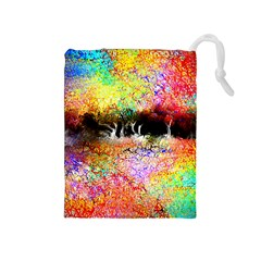 Colorful Tree Landscape Drawstring Pouches (Medium)