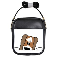 Peeping Shih Tzu Girls Sling Bags