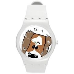 Peeping Shih Tzu Round Plastic Sport Watch (M)