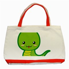 Kawaii Snake Classic Tote Bag (Red)