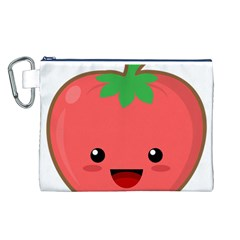 Kawaii Tomato Canvas Cosmetic Bag (L)