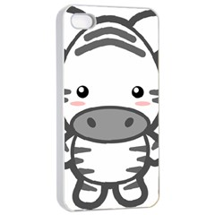 Kawaii Zebra Apple iPhone 4/4s Seamless Case (White)