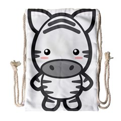 Kawaii Zebra Drawstring Bag (Large)