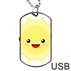 Kawaii Sun Dog Tag USB Flash (One Side)