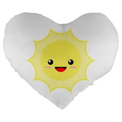 Kawaii Sun Large 19  Premium Heart Shape Cushions