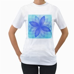 Abstract Lotus Flower 1 Women s T Shirt (white) (two Sided)