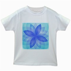 Abstract Lotus Flower 1 Kids White T Shirts