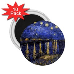 Vincent Van Gogh Starry Night Over The Rhone 2 25  Magnets (10 Pack)