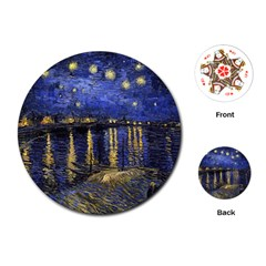 Vincent Van Gogh Starry Night Over The Rhone Playing Cards (Round)