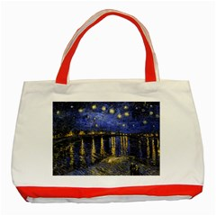 Vincent Van Gogh Starry Night Over The Rhone Classic Tote Bag (Red)