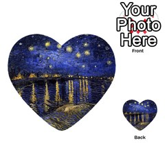 Vincent Van Gogh Starry Night Over The Rhone Multi-purpose Cards (Heart)