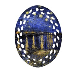 Vincent Van Gogh Starry Night Over The Rhone Ornament (oval Filigree)