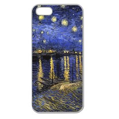 Vincent Van Gogh Starry Night Over The Rhone Apple Seamless iPhone 5 Case (Clear)