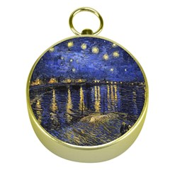 Vincent Van Gogh Starry Night Over The Rhone Gold Compasses