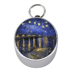 Vincent Van Gogh Starry Night Over The Rhone Mini Silver Compasses