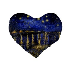 Vincent Van Gogh Starry Night Over The Rhone Standard 16  Premium Flano Heart Shape Cushions
