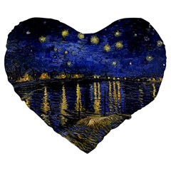 Vincent Van Gogh Starry Night Over The Rhone Large 19  Premium Flano Heart Shape Cushions