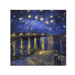 Vincent Van Gogh Starry Night Over The Rhone Small Satin Scarf (Square)