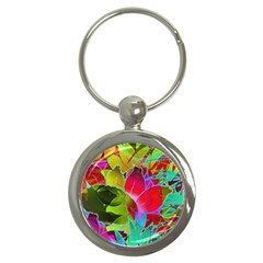 Floral Abstract 1 Key Chains (Round)