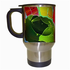Floral Abstract 1 Travel Mugs (white)