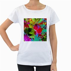 Floral Abstract 1 Women s Loose-Fit T-Shirt (White)