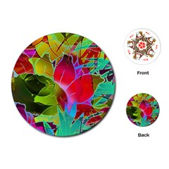 Floral Abstract 1 Playing Cards (round)