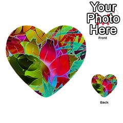 Floral Abstract 1 Multi Purpose Cards (heart)