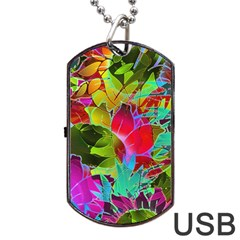 Floral Abstract 1 Dog Tag USB Flash (Two Sides)