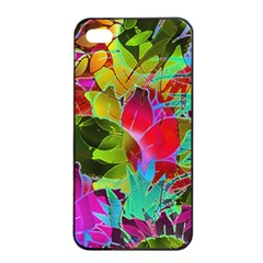 Floral Abstract 1 Apple iPhone 4/4s Seamless Case (Black)