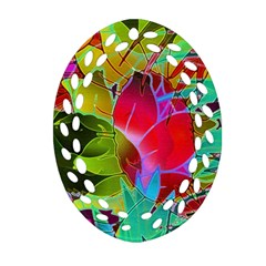 Floral Abstract 1 Oval Filigree Ornament (2-Side)