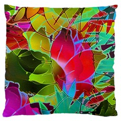 Floral Abstract 1 Large Cushion Cases (One Side)