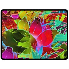Floral Abstract 1 Double Sided Fleece Blanket (large)