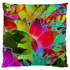 Floral Abstract 1 Standard Flano Cushion Cases (One Side)