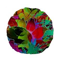 Floral Abstract 1 Standard 15  Premium Flano Round Cushions