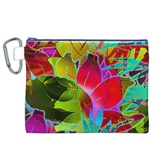 Floral Abstract 1 Canvas Cosmetic Bag (XL)
