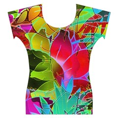 Floral Abstract 1 Women s Cap Sleeve Top