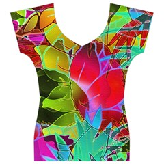 Floral Abstract 1 Women s V-Neck Cap Sleeve Top